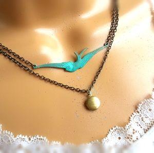Layered Patina Sparrow Tiny Locket Necklace
